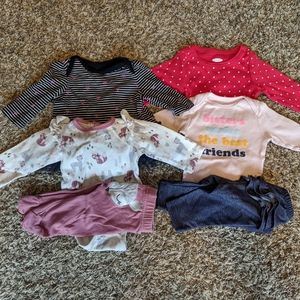 0-3 Month Girl Lot of 6